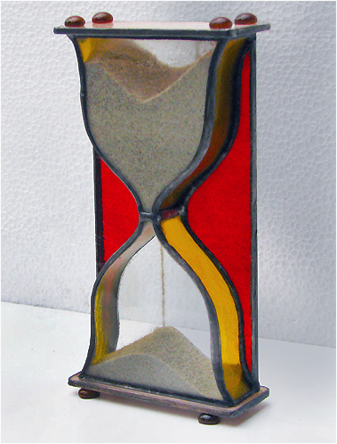 Stained Glass Hourglass Nr. 123, Tiffany technique, handmade