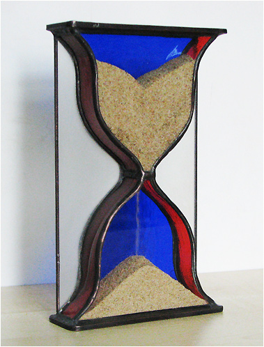 Stained Glass Hourglass Nr. 124, Tiffany technique, handmade