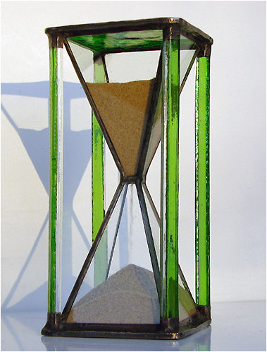 Stained Glass Hourglass Nr. 133, Tiffany technique, handmade