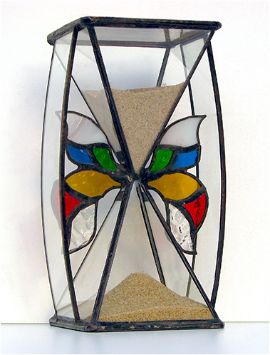 Stained Glass Hourglass Nr. 137, Tiffany technique, handmade