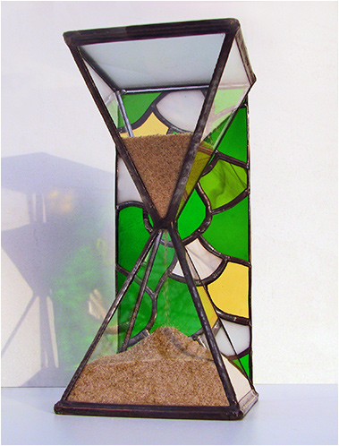 Stained Glass Hourglass Nr. 138, Tiffany technique, handmade