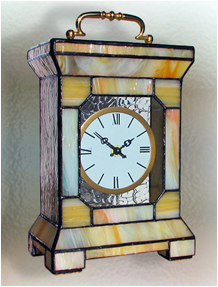 Stained Glass Clock Nr. 4743, Tiffany technique, handmade