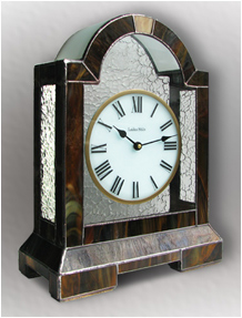 Stained Glass Clock Nr. 4746, Tiffany technique, handmade