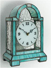 Stained Glass Clock Nr. 4752, Tiffany technique, handmade