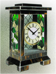 Stained Glass Clock Nr. 4761, Tiffany technique, handmade
