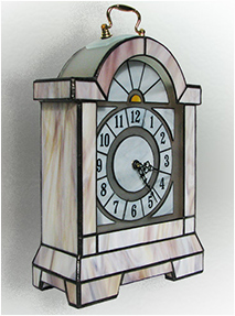 Stained Glass Clock Nr. 4775, Tiffany technique, handmade