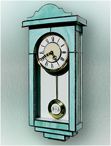 Stained Glass Clock Nr. 4786, Tiffany technique, handmade
