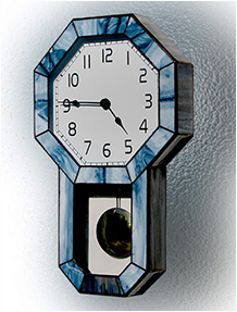 Stained Glass Clock Nr. 4795, Tiffany technique, handmade