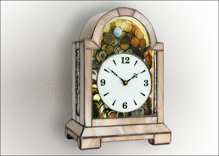 Stained Glass Clock Nr. 4818, Money Box