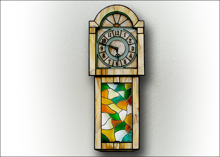 Stained Glass Wall Clock Nr. 5299