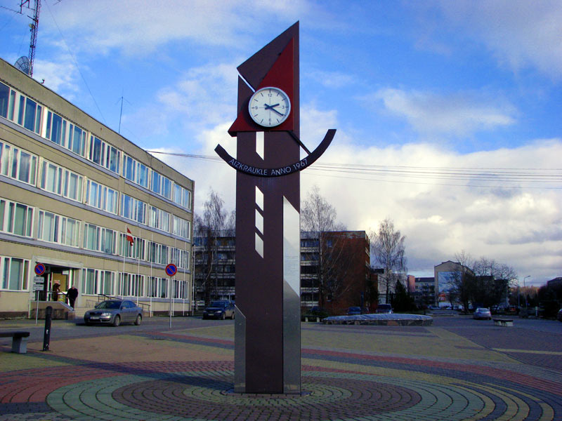 Aizkraukle, public clock in centre of the city