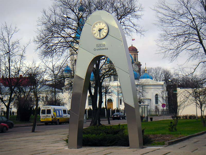 "Jelgava, ""SEB banka"" 2-sided advertising clock"